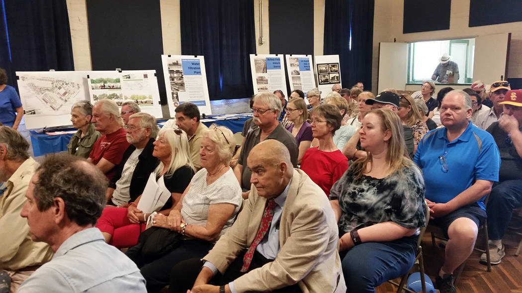 Celia Shortt Goodyear/Boulder City Review Attendees pack the old water and power building at 600 Nevada Way for the 2018 Historic Preservation Day on Saturday, May 12, 2018.