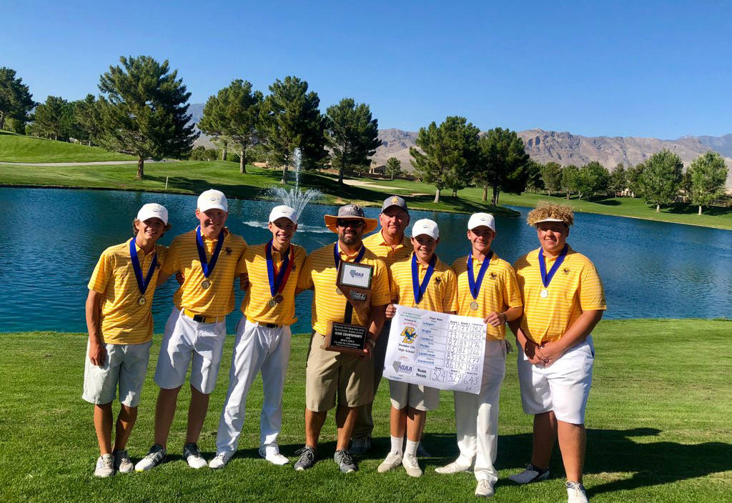 Liz Carducci Members and coaches of the Boulder City High School golf team celebrate winning their first state championship in 12 years on Tuesday, May 15.