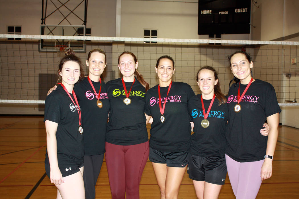 Boulder City Synergy wins Boulder City's 2018 spring volleyball championship. From left, winning team members Carlee Becker, Nicole Evans, Lia Herlosky, Jennifer Richards, Jessica Leavitt, and Kri ...