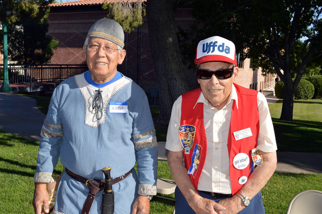 Celia Shortt Goodyear/Boulder City Review Andy Agan, left, and Warren Halverson worked the beer table at the Sons of Norway Constitution Day celebration on May 17 at Bicentennial Park in Boulder City.
