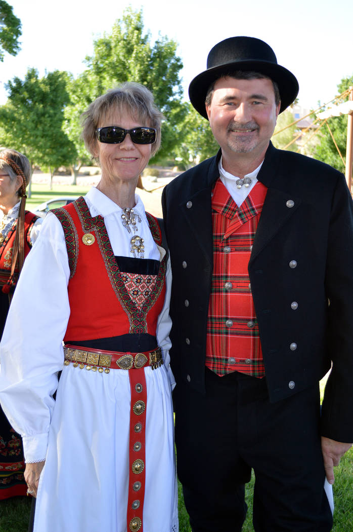 Celia Shortt Goodyear/Boulder City Review Lettie Zimmerman and Erik Pappa enjoy the Sons of Norway Constitution Day celebration on May 17 at Bicentennial Park. Pappa is president of Vegas Viking L ...