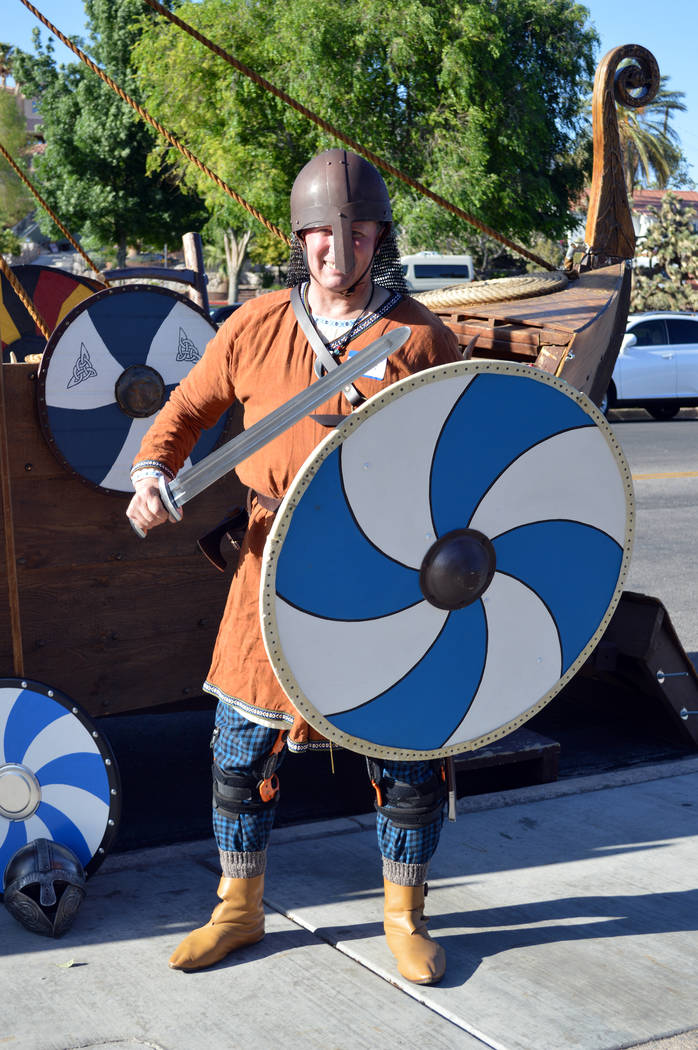 Celia Shortt Goodyear/Boulder City Review Rick Senzig of the Vegas Viking Lodge strikes a pose at the Sons of Norway Constitution Day celebration on May 17at Bicentennial Park. Senzig is the group ...