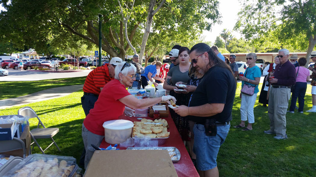 Celia Shortt Goodyear/Boulder City Review Guests at the Sons of Norway Constitution Day celebration May 17 at Bicentennial Park line up to buy baked goods.