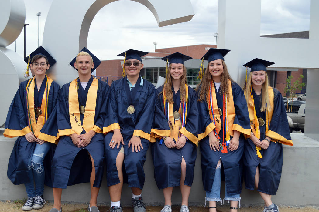 Celia Shortt Goodyear/Boulder City Review Boulder City High School introduced its five valedictorians and one salutatorian. They are, from left, Kirsten Lowe, Clayton Pendleton, Sean Garner (salut ...