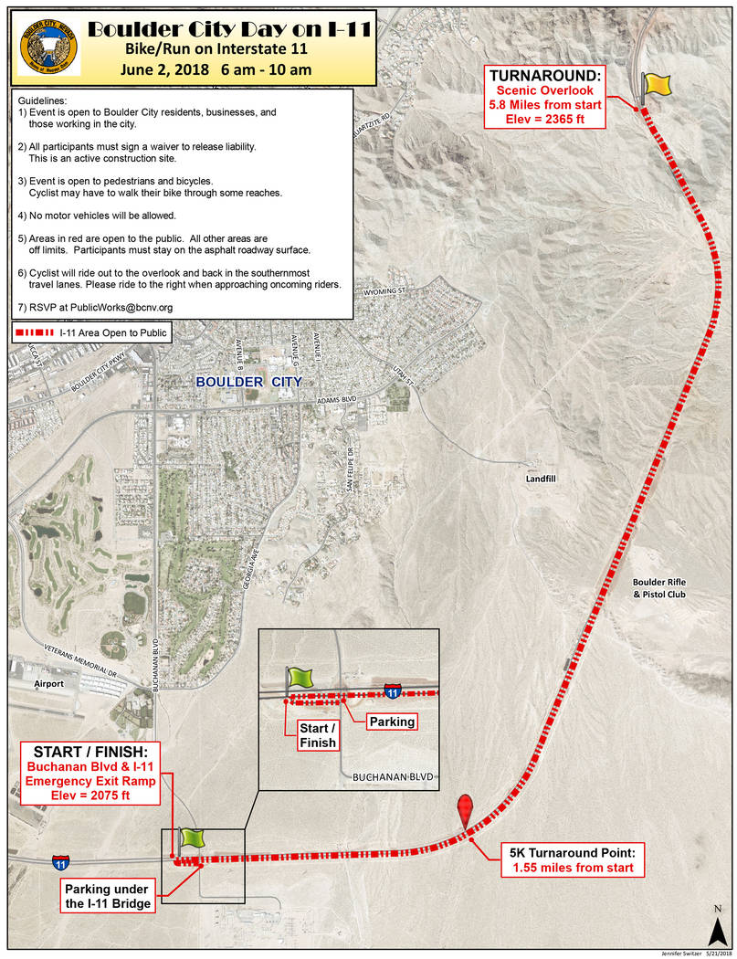 Boulder City On Saturday, June 2, Boulder City residents and business owners will be able to hike and bike along a section of the new Interstate 11.