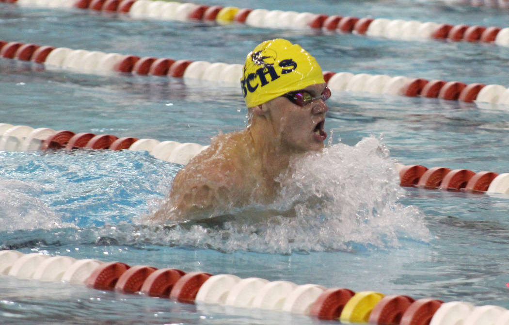 Tim Guesman/Las Vegas Review-Journal Boulder City High's junior A.J. Pouch competes in the 200 breaststroke at the Class 3A state swimming championships at UNLV on Saturday. He was the Eagles' lon ...