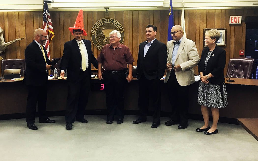 Monika Bertaki/Regional Transportation Commission of Southern Nevada John Penuelas, director of the Regional Transportation Commission of Southern Nevada, presents a cone to City Council at its me ...