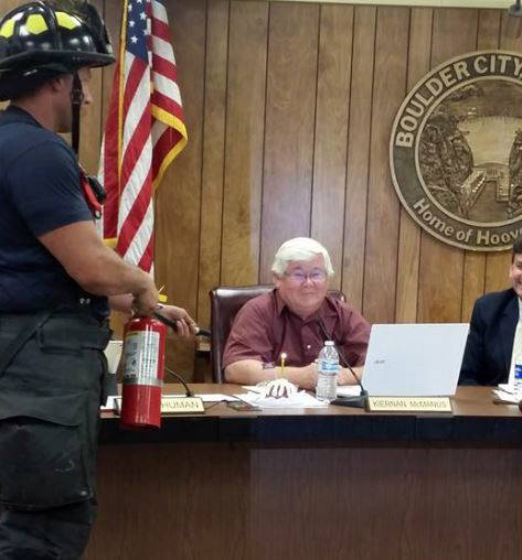 Celia Shortt Goodyear/Boulder City Review City Council recognized Councilman Kiernan McManus's birthday at the meeting Tuesday evening. Firefighters were on hand in case the candles got out of con ...