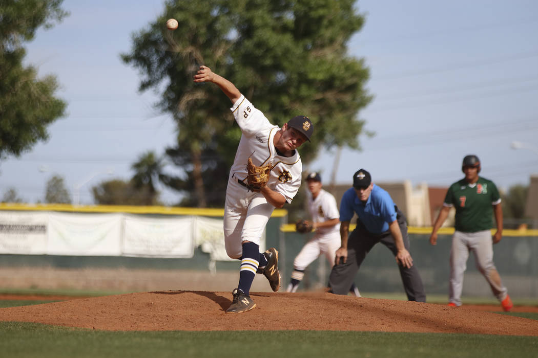 File D.J. Reese, a senior at Boulder City High School, seen pitching against Mojave in May, was named to the All-Southern Nevada first time.