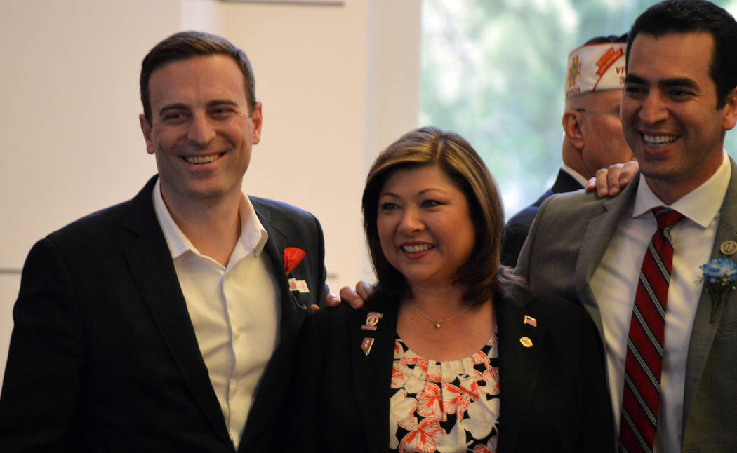 Celia Shortt Goodyear/Boulder City Review Nevada Attorney General Adam Laxalt, from left, Henderson Councilwoman Gerri Schroder, and U.S. Rep. Ruben Kihuen celebrate Memorial Day on Monday at the ...