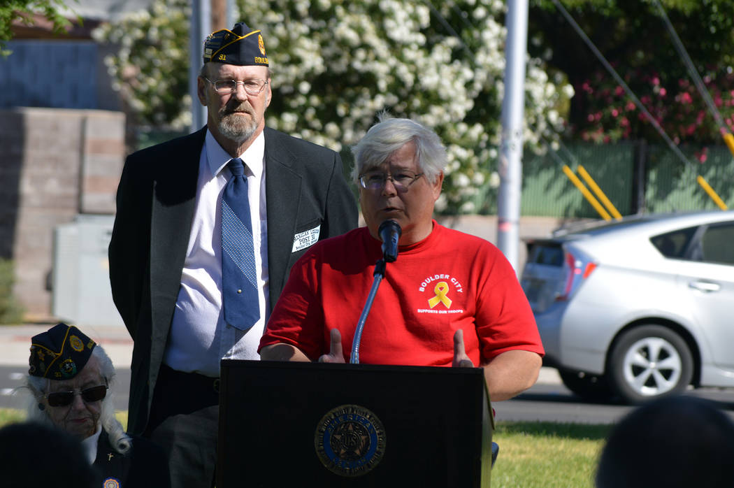 Celia Shortt Goodyear/Boulder City Review City Councilman Kiernan McManus delivers the keynote speech at the Memorial Day ceremony at Boulder City Cemetery on Monday. The program was hosted by Ame ...