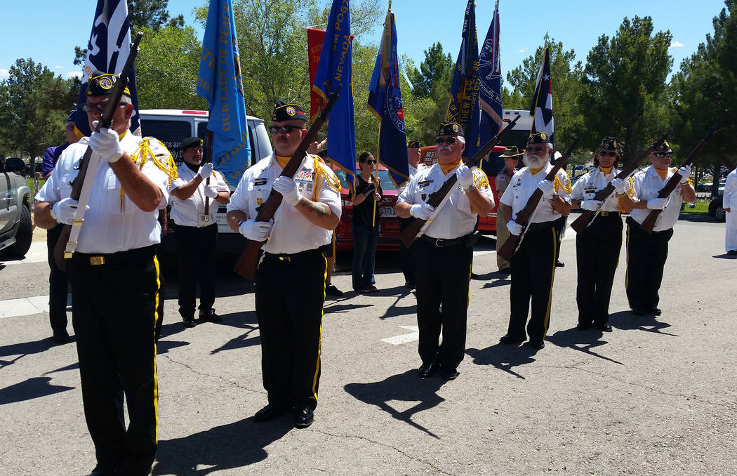 Celia Shortt Goodyear/Boulder City Review The firing honor guard of Disabled American Veterans, Black Mountain Chapter 12, does a 21-gun salute at the Memorial Day ceremony Monday at the Southern ...
