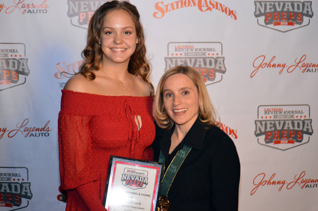 Celia Shortt Goodyear/Boulder City Review Boulder City High School swimmer Rose Pouch is congratulated by U.S. Olympic gold medalist gymnast Kerri Strug on Sunday, June 3, for being named the winn ...