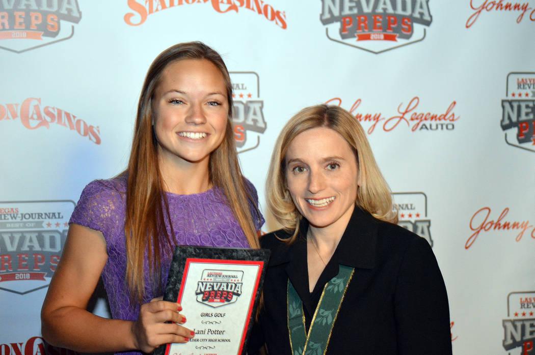 Celia Shortt Goodyear/Boulder City Review Boulder City High School golfer Lani Potter is congratulated by U.S. Olympic gold medalist gymnast Kerri Strug on Sunday, June 3, for being named the winn ...