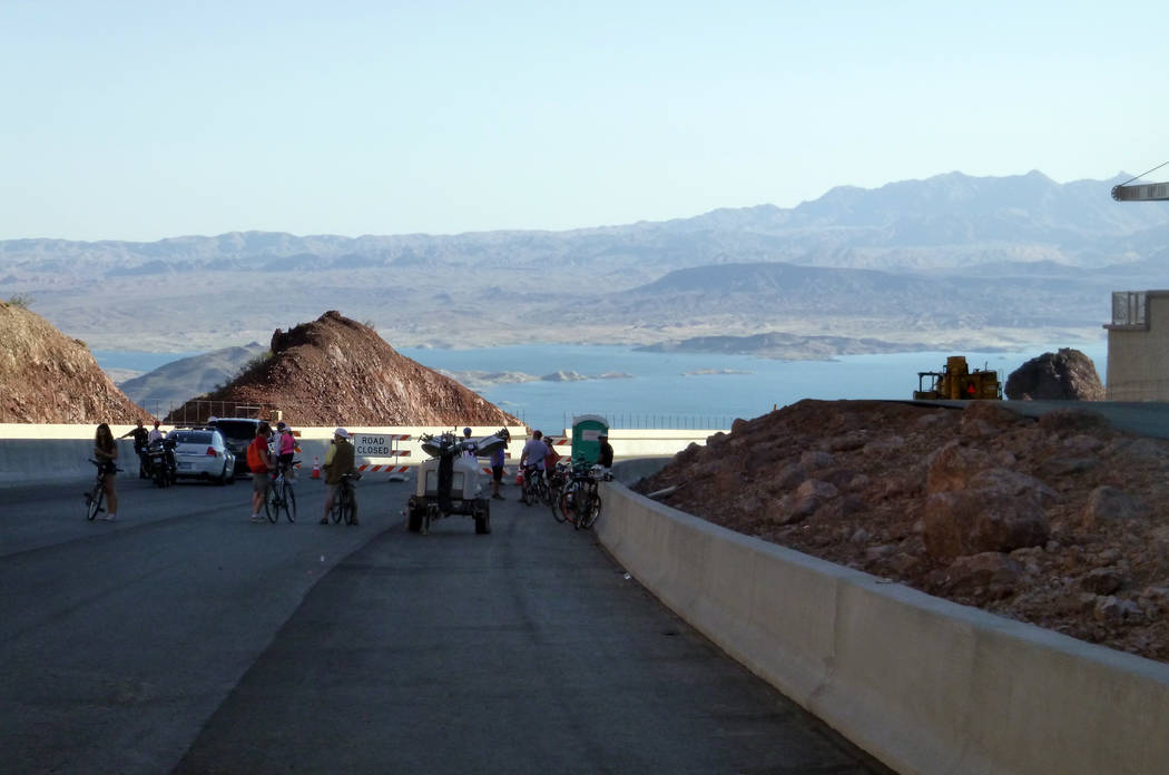 Celia Shortt Goodyear/Boulder City Review Residents and visitors take in a new view of Lake Mead during Boulder City Day on Saturday, when almost six miles of Interstate 11 was opened for them.