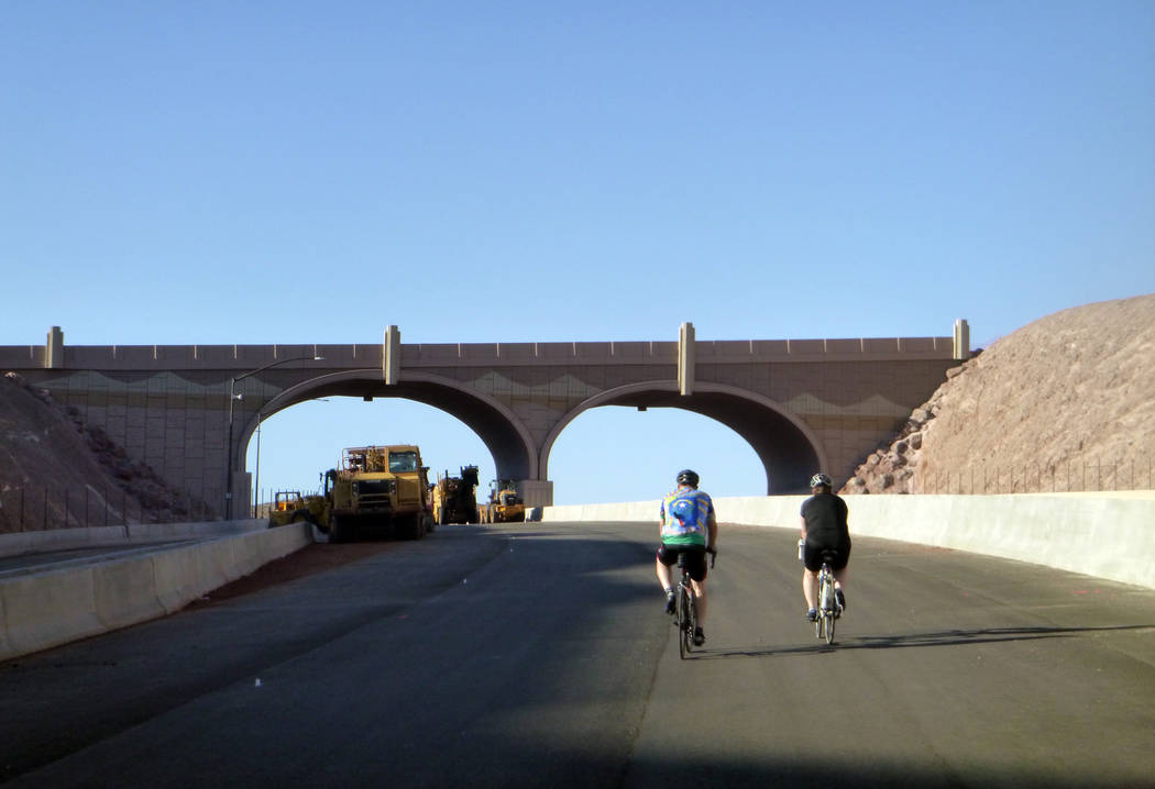 Celia Shortt Goodyear/Boulder City Review Cyclists head back to Boulder City on Interstate 11 during Boulder City Day on Saturday.
