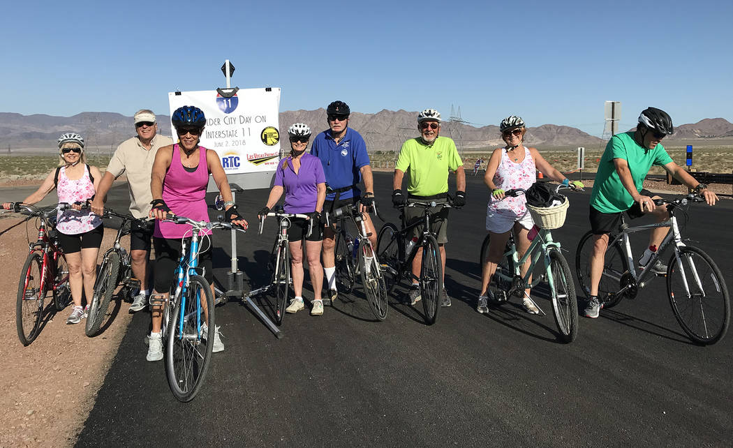 Hali Bernstein Saylor/Boulder City Review Out for a friendly bike ride on Interstate 11 before it opens to traffic on Saturday were, from left, Carol Page, Dale Kahre, Hillary Smith, Diana Stansbu ...