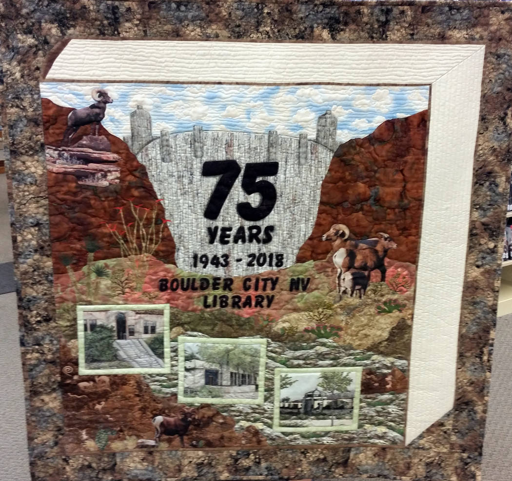 Celia Shortt Goodyear/Boulder City Review The Boulder City Cut-Ups quilting group created this quilt for the library in honor of its 75th anniversary.