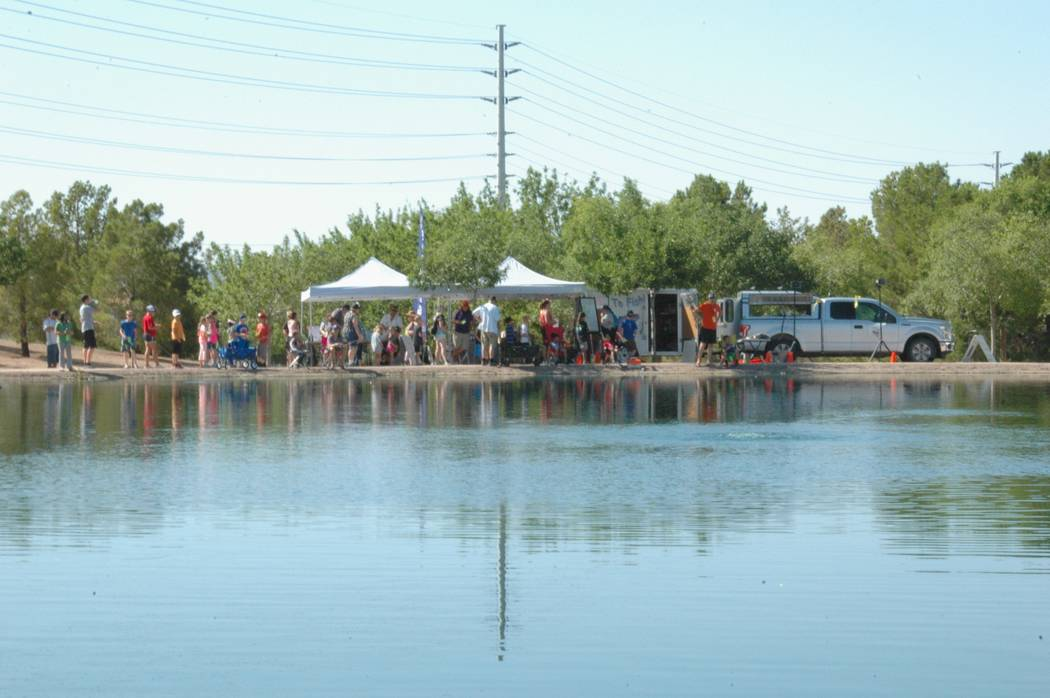 Jayme Sileo/Boulder City Review Dozens of families attended Free Fishing Day at Veterans' Memorial Park on Saturday to fish, win raffles and prizes.