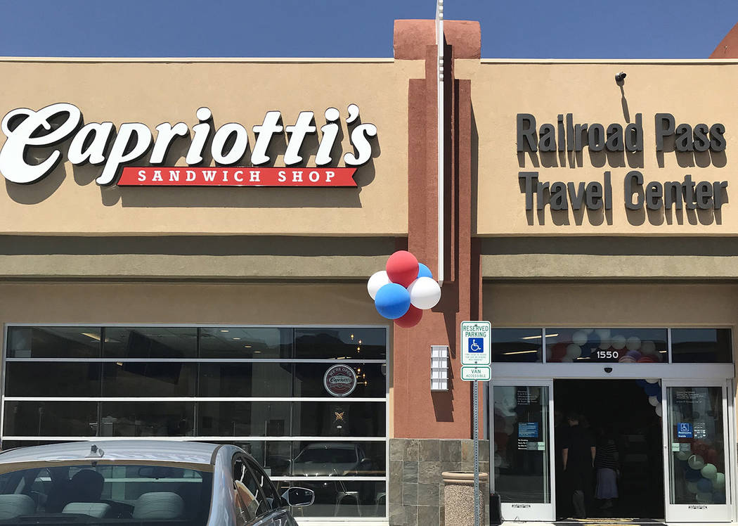 Hali Bernstein Saylor/Boulder City Review The new 8,500-square-foot convenience center at Railroad Pass' travel center features a Capriotti's Sandwich Shop, cold beverages, sundries, snacks, restr ...