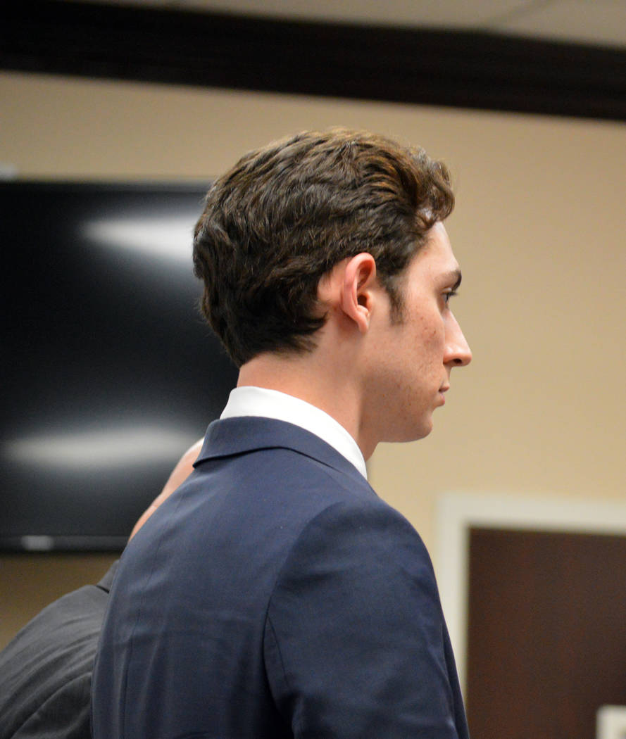 Celia Shortt Goodyear/Boulder City Review Devon Yslas listens to Boulder City Justice of the Peace Victor Miller during a status check Tuesday. Yslas is awaiting sentencing for one of his two cha ...