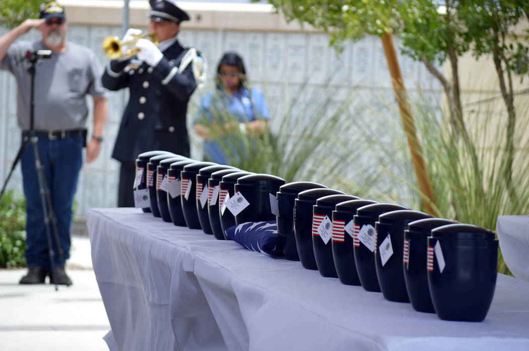 Celia Shortt Goodyear/Boulder City Review The remains of 35 unclaimed veterans were laid to rest Friday at the Southern Nevada Veterans Memorial Cemetery.