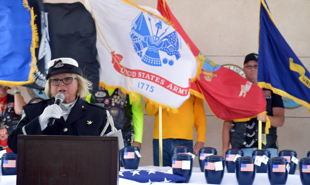 """Celia Shortt Goodyear/Boulder City Review Nevada Veterans Coalition Chaplain Sharon Serenko tells attendees that the 35 unclaimed veterans are """"brought home at last."""""""