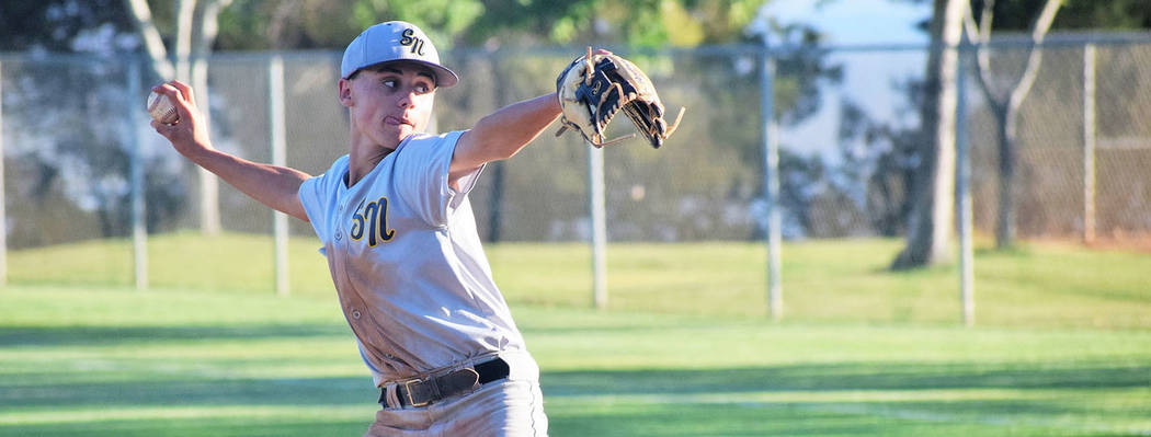 Robert Vendettoli/Boulder City Review RJ Kilar throws a strike against the LV Cats on Monday, June 18, 2018, at Veterans' Memorial Park during the Connie Mack league game. The Boulder City Souther ...