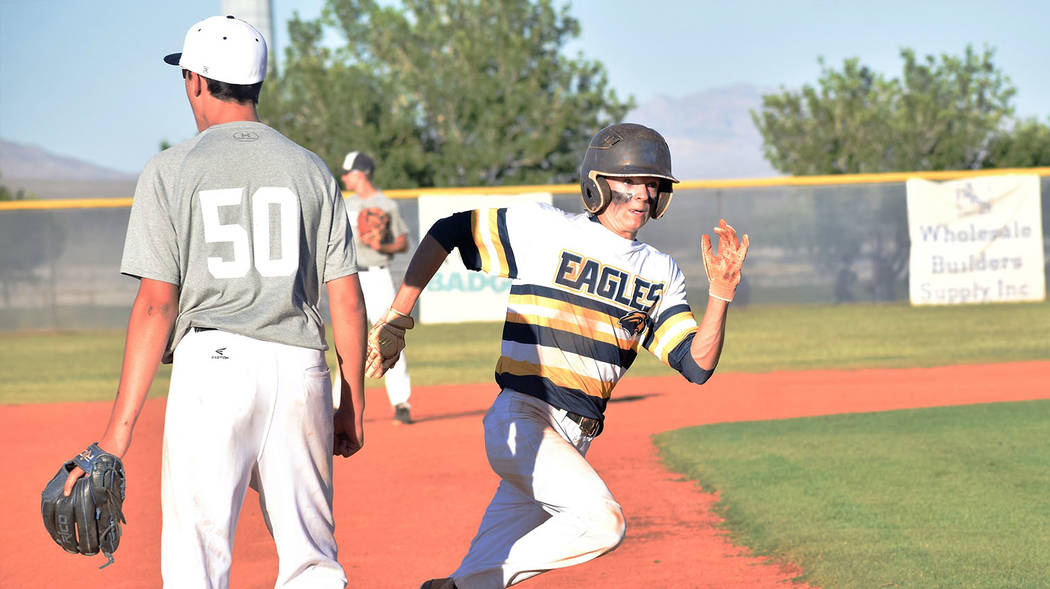 Robert Vendettoli/Boulder City Review Troy Connell rounds third on his way to score a run in the seventh inning against Shadow Ridge on Tuesday for the Southern Nevada Eagles 16U baseball team in ...
