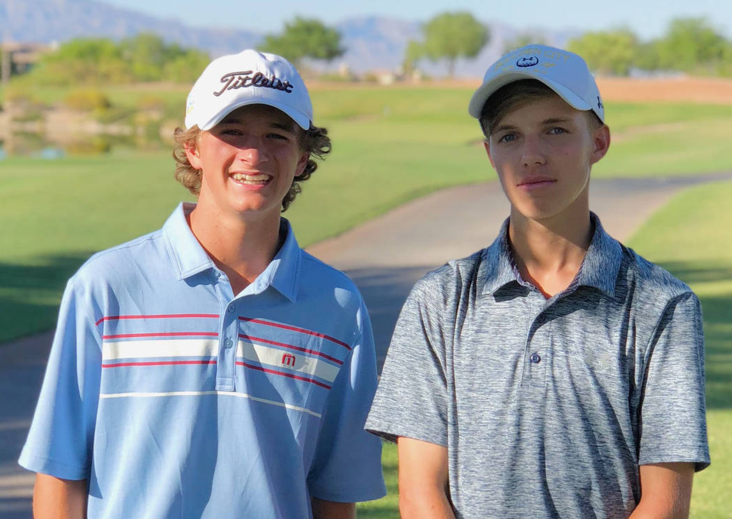 Andy Schaper Boulder City High School sophomore Blake Schaper, left, and class of 2018 graduate Jackson Wright pause for a moment after the RecruitLook Junior Golf Tour Championship at Cascata Gol ...