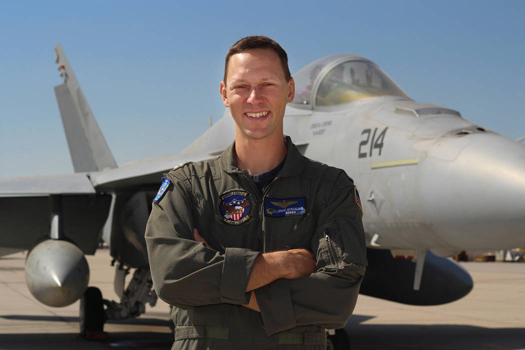 U.S. Navy Lt. Grant Strickland is a pilot with the Flying Eagles of VFA 122, which operates out of Naval Air Station Lemoore in California. He helps train future naval aviators.