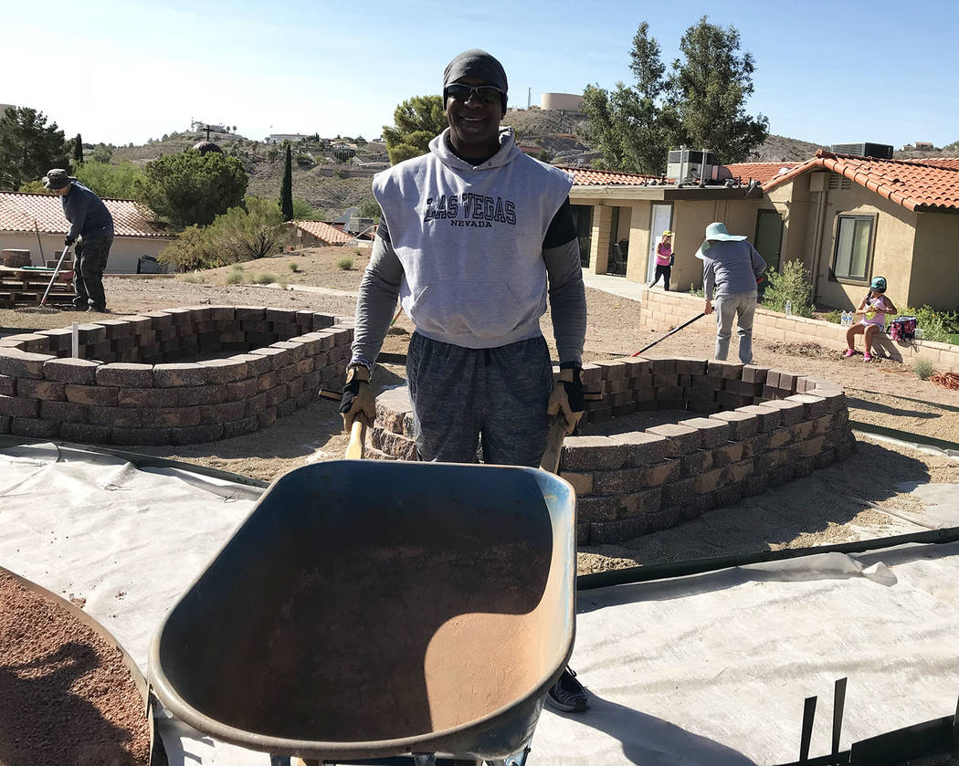 Hali Bernstein Saylor/Boulder City Review Brian Franklin, a senior therapeutic house director at St. Jude's Ranch for Children, was among those helping build a community garden on the Boulder City ...
