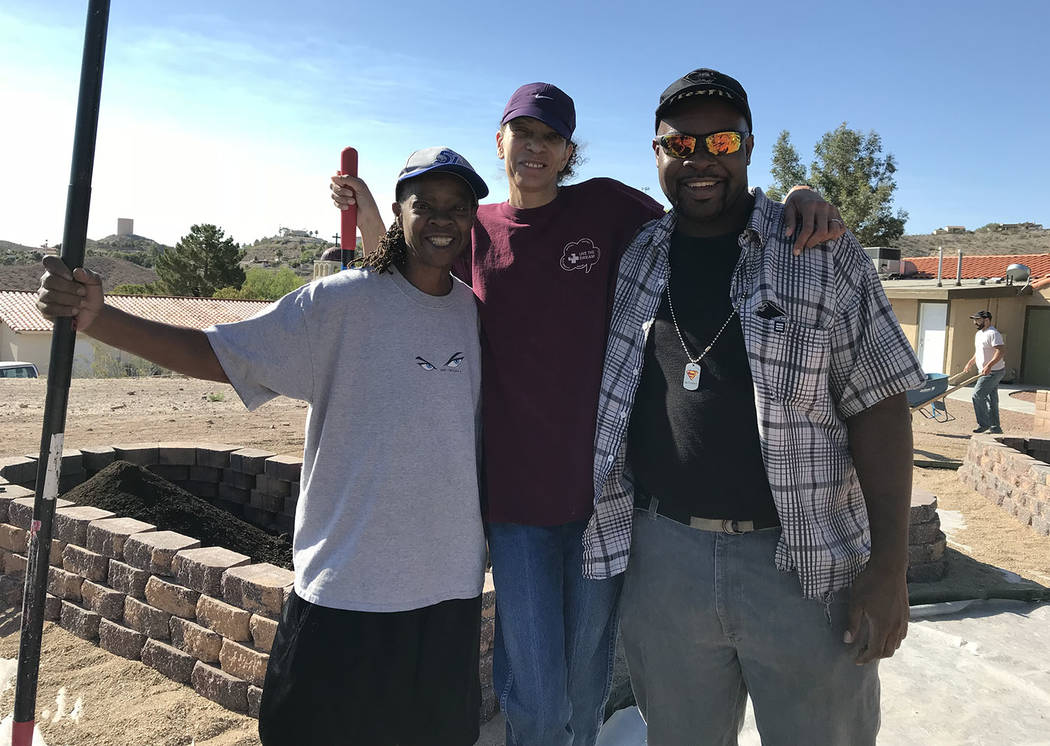Hali Bernstein Saylor/Boulder City Review Volunteers Lisha Thompson, from left, Melanie Fowler and Brandon Thompson, made their first visit to St. Jude's Ranch for Children in Boulder City on Satu ...