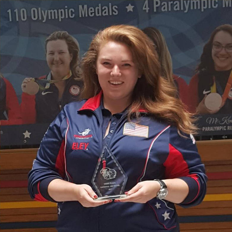 File Lexi Lagan of Boulder City, seen in August 2017 after winning first place for the West Coast and third place in the national division for the National Rifle Association's Air Pistol National ...