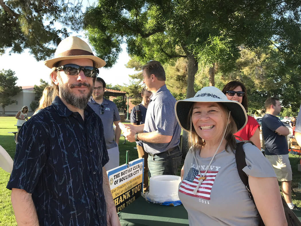 Hali Bernstein Saylor/Boulder City Review Lee and Anita Lanier of Boulder City came to Bicentennial Park early Wednesday, July 4, 2018, morning to enjoy a pancake breakfast served by the Rotary Cl ...