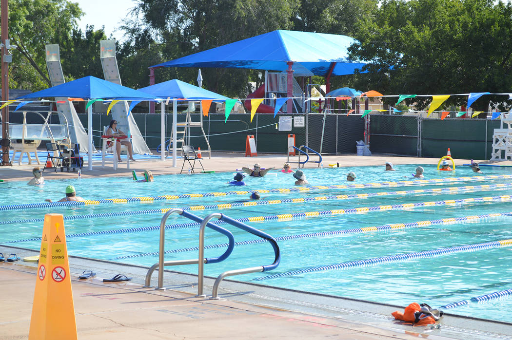 Celia Shortt Goodyear/Boulder City Review The Boulder City Pool offers exclusive swim times for adults as well as families in addition to access for all during open swimming. Admission is $2 for c ...