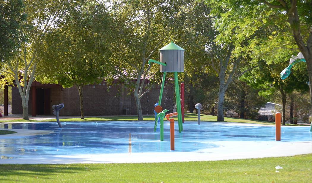 Celia Shortt Goodyear/Boulder City Review The splash park at Veterans' Memorial Park offers multiple ways to cool off on hot summer days.