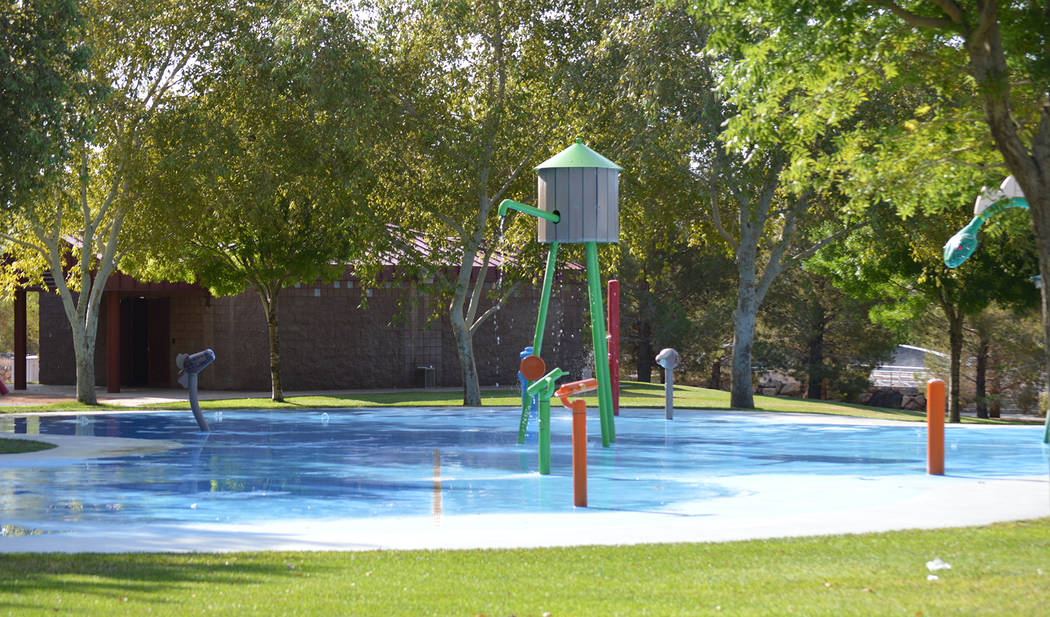 Celia Shortt Goodyear/Boulder City Review The splash park at Veterans' Memorial Park offers multiple ways to cool off on hot summer days.