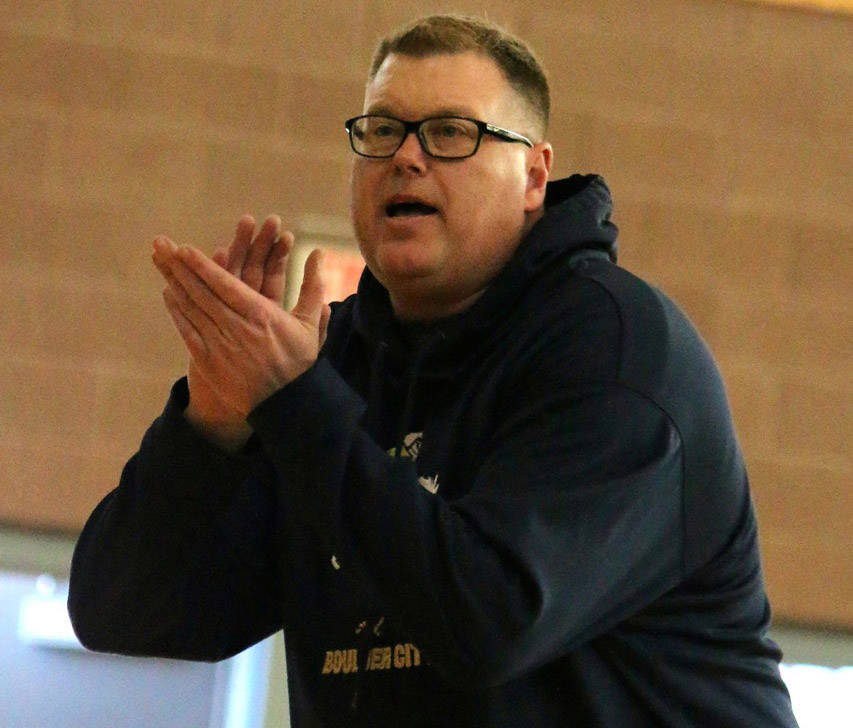 Laura Hubel/Boulder City Review Boulder City High School girls basketball coach Paul Dosch recently was diagnosed with stage four lung cancer. Students and the community are rallying around him wi ...