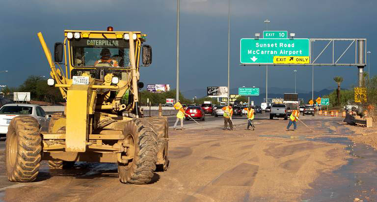 Nevada Department of Transportation During summer monsoon season, weather conditions can change quickly, causing flash floods that bring debris and deadly waters to local roads.