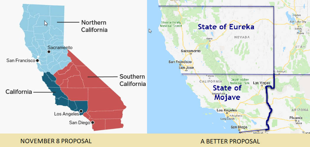 Dale Napier At left is the proposed plan to split California into three states. At right is another suggestion from Dale Napier that blends Nevada and California and then divides the area into two ...