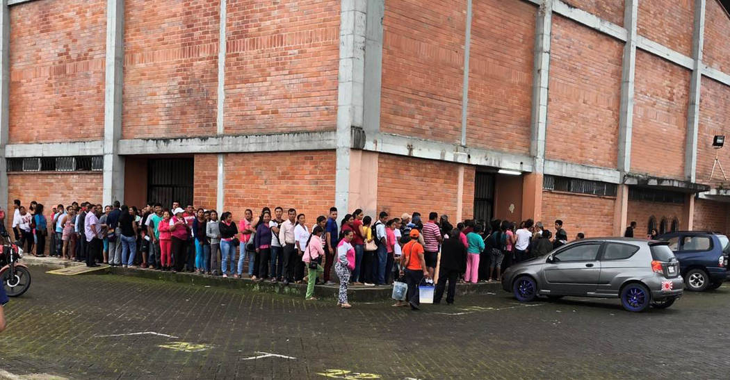 Larry Smith Native villagers in Ecuador line up to receive free pain management treatment provided by Healing Hands Aboard. Some of the people traveled 5 1/2 hours to get to the clinic and had nev ...