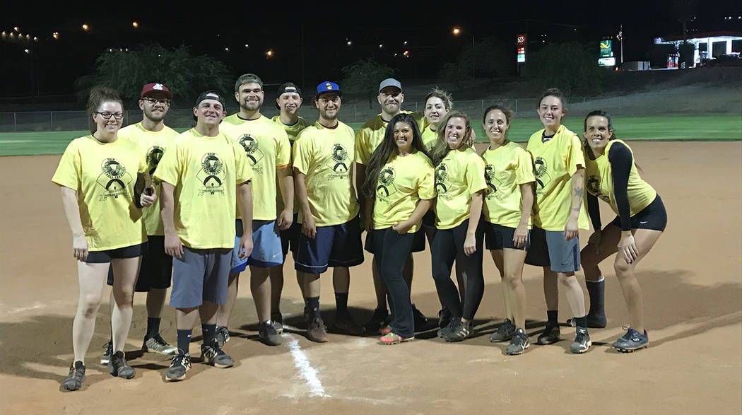 Kelly Lehr Members of Boulder City Parks and Recreation's adult coed softball league winning team, Boulder Dam Brew Pub, are, from left, Jen Rodriguez, Tyler Bletsch, Jake Gullo, Eddie Fee ...