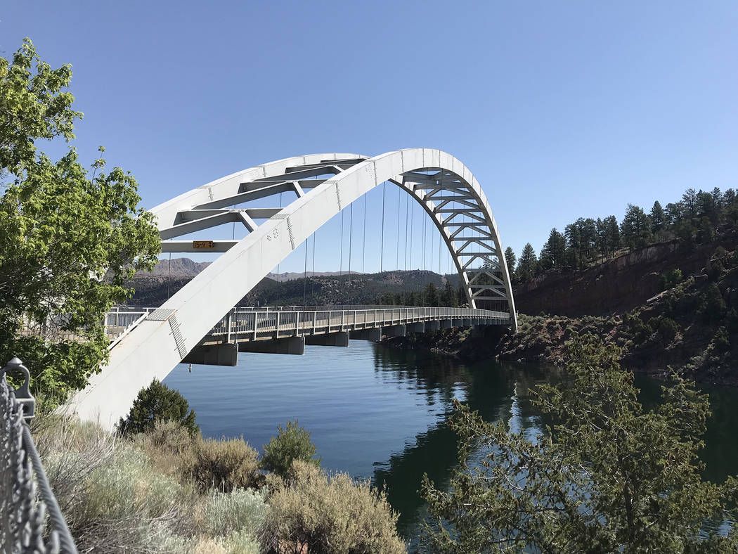 Deborah Wall The Cart Creek Bridge is used by vehicles to cross a scenic side canyon on the Flaming Gorge Reservoir, found along the main road to Dutch John, Utah.