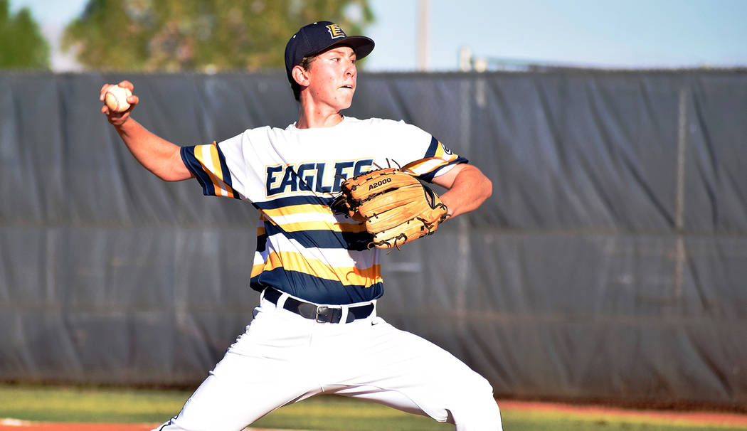 Robert Vendettoli/Boulder City Review Dominant on the mound, Joey Giunta of the Southern Nevada Eagles 16U team in the Connie Mack summer baseball league throws a strike against Shadow Ridge on Ju ...