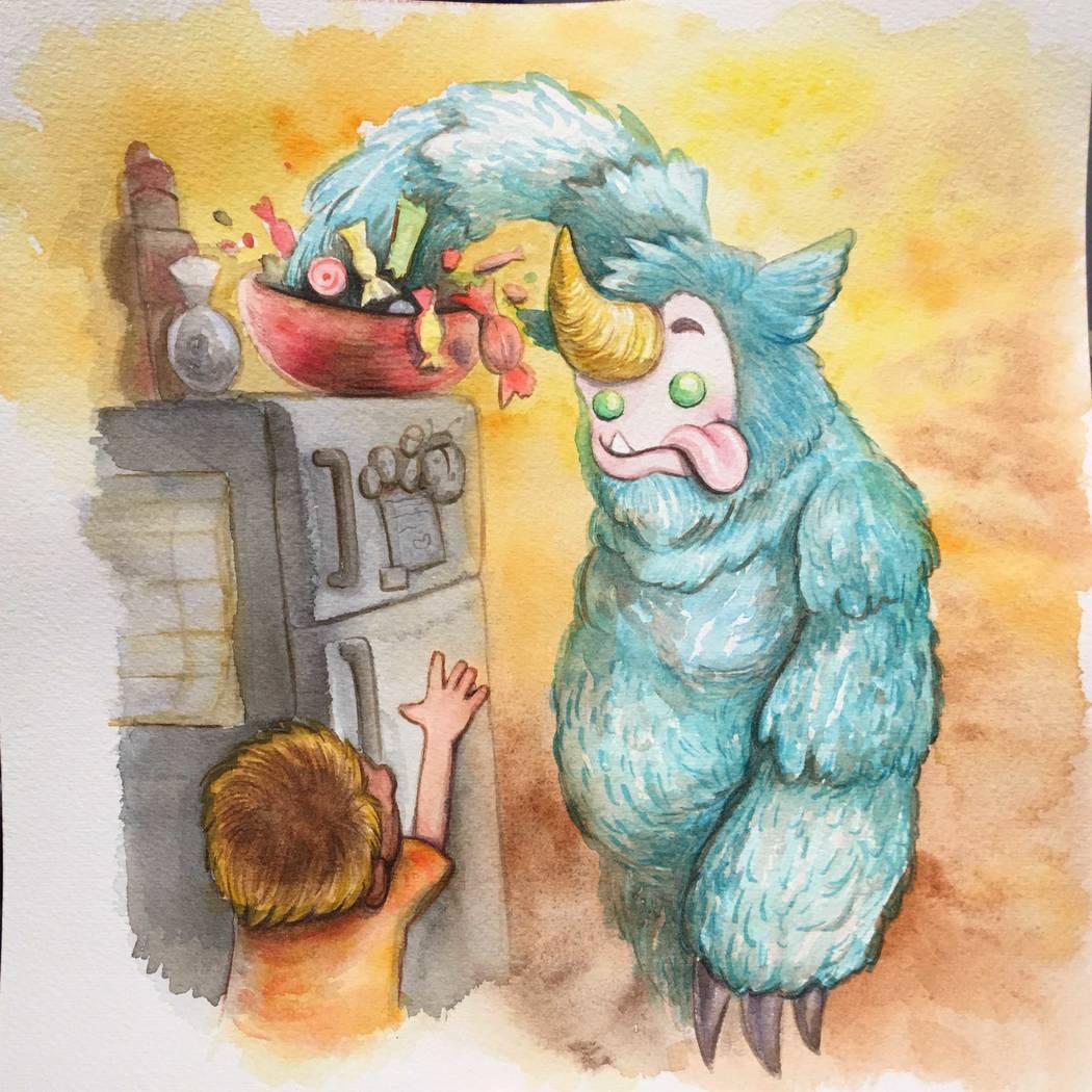 "Sam Lemos/The Nik Naks Artists Mike and Dasha Biggs of Las Vegas created original artwork for The Nik Naks' ""My Best Friend is a Monster"" book."
