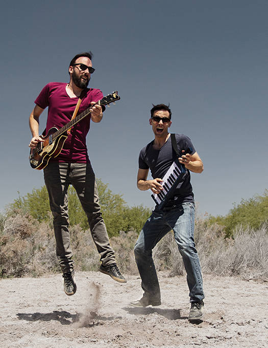 Sam Lemos/The Nik Naks The Nik Naks band, Jean-Francois Thibeault,left, and Sam Lemos rehearse in the desert.