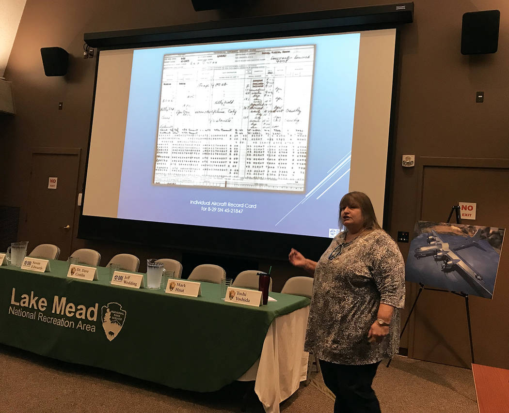 Hali Bernstein Saylor/Boulder City Review Susan Edwards, a research archaeologist and historian from the Desert Research Institute, shows some of the documents she has gathered tracing the history ...