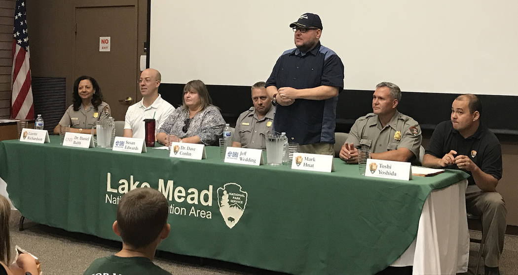 Hali Bernstein Saylor/Boulder City Review A panel of experts, from left, Lizette Richardson, superintendent of Lake Mead National Recreation Area; Dr. Daniel Bubb, Honors College, University of La ...