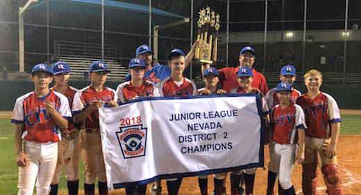 Rebecca Cook Members of Boulder City Little League Junior All-Stars celebrate their 2018 division championship before heading to the state tournamet in Reno. They finished the tournament with a 1- ...